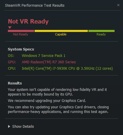 SteamVR Performance Test virtual reality