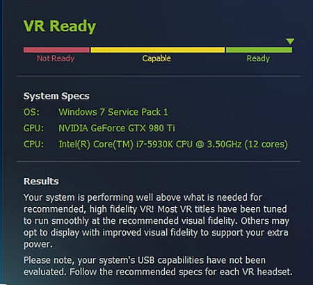 SteamVR Performance Test virtual reality games